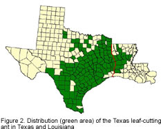 Map of Texas showing distribution areas