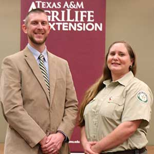 <p>Educational outreach team members who helped incorporate fire resistance ratings into the Texas A&amp;M AgriLife Extension Earth-Kind® Plant Selector were awarded a Superior Service Award for a Team today, Jan. 9, at a ceremony in Bryan, Texas.</p>