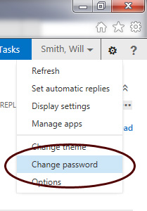 Outlook Web App - Change Password Selection