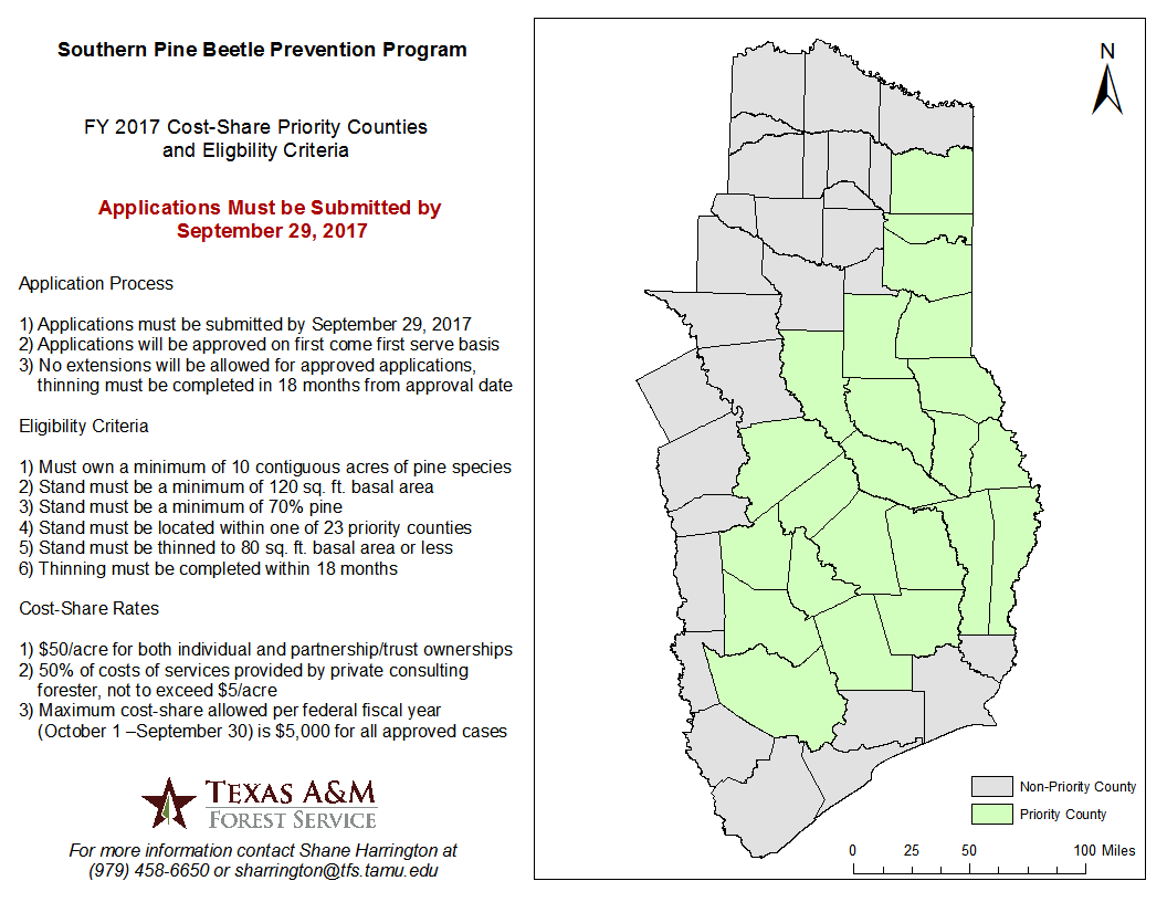 FY 2017 Southern Pine Beetle Prevention Program Eligbility Map