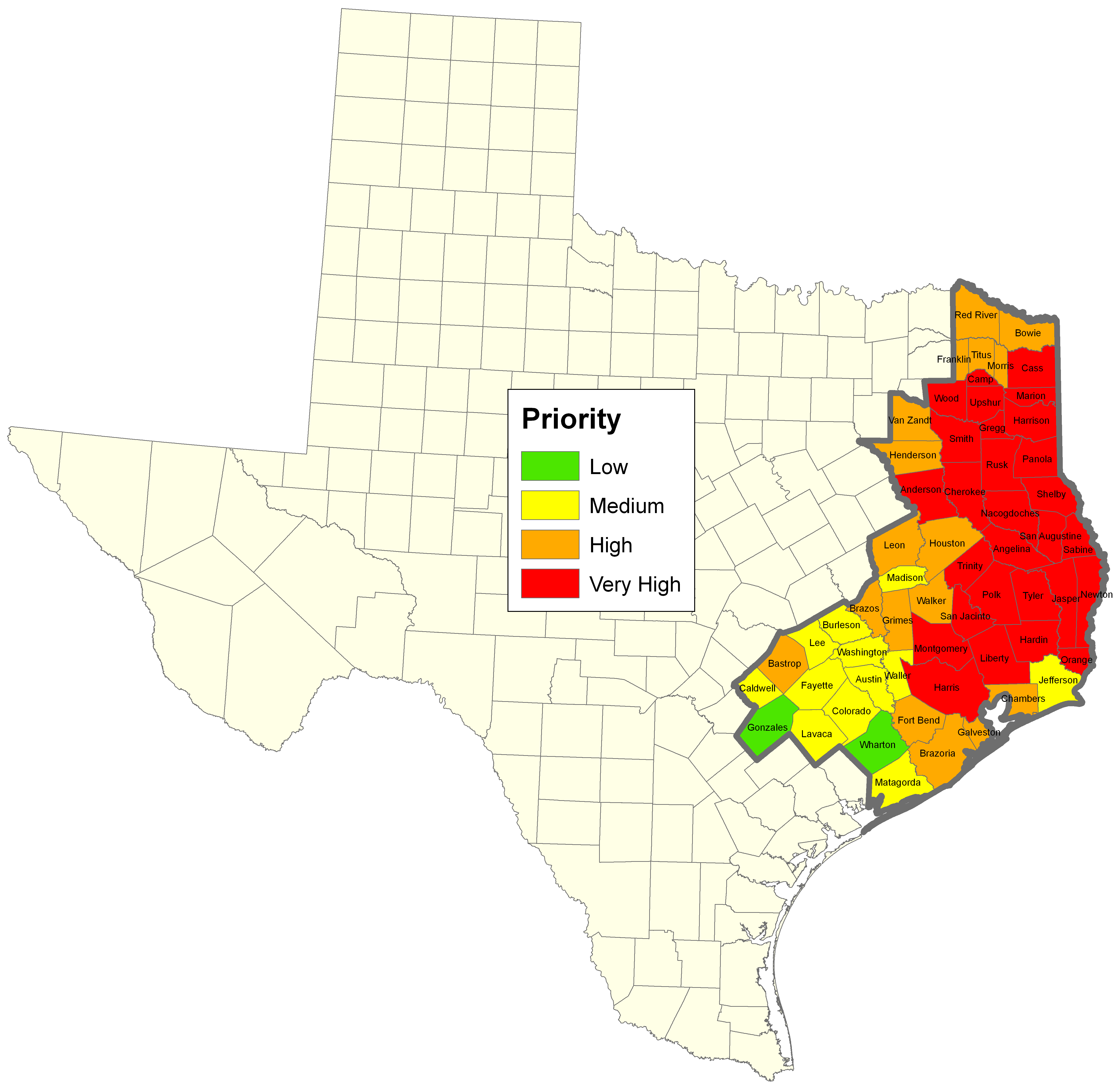 Map Of Texas Forests.Manage Forests And Land Tfs