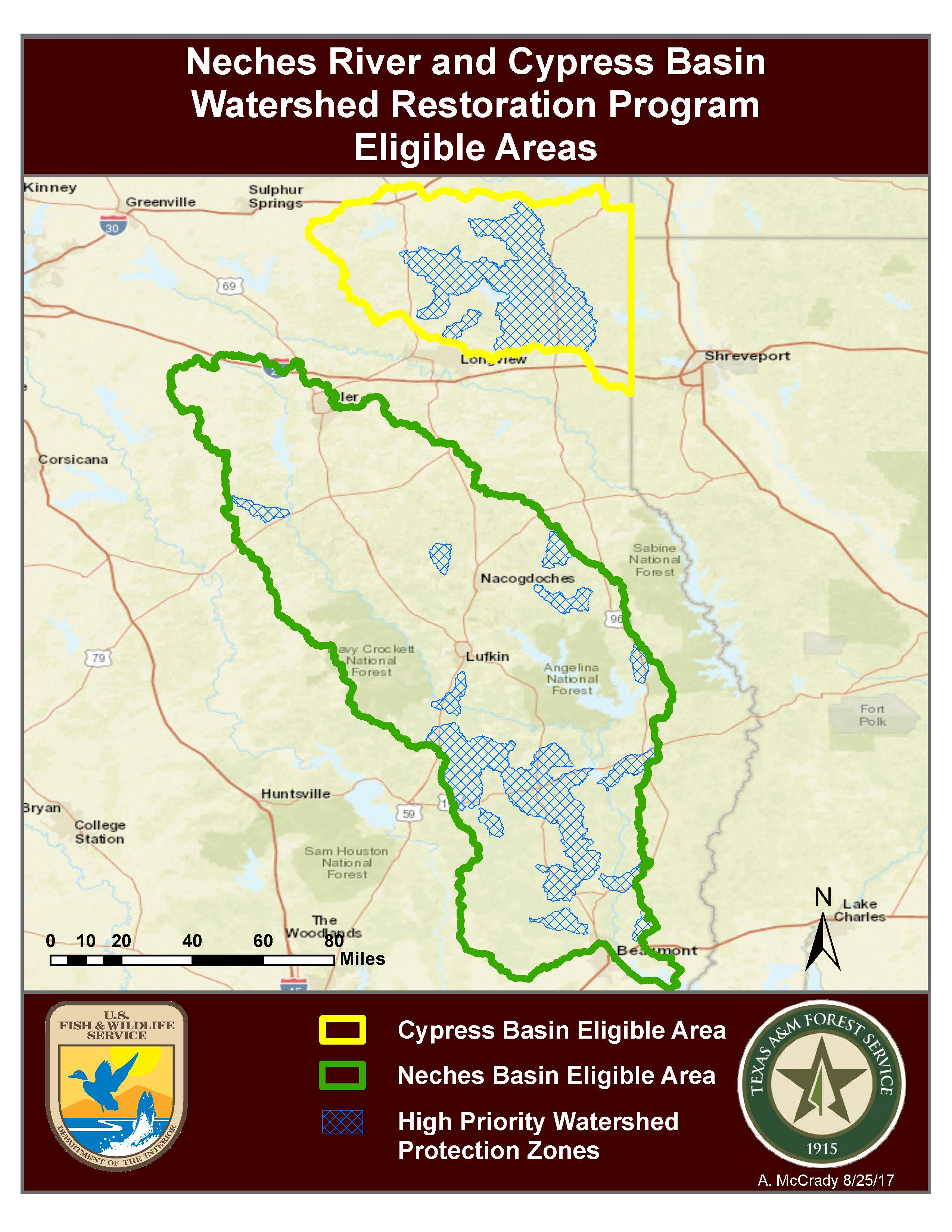 2018 Neches River and Cypress Basin Watershed Restoration Program Eligible Areas