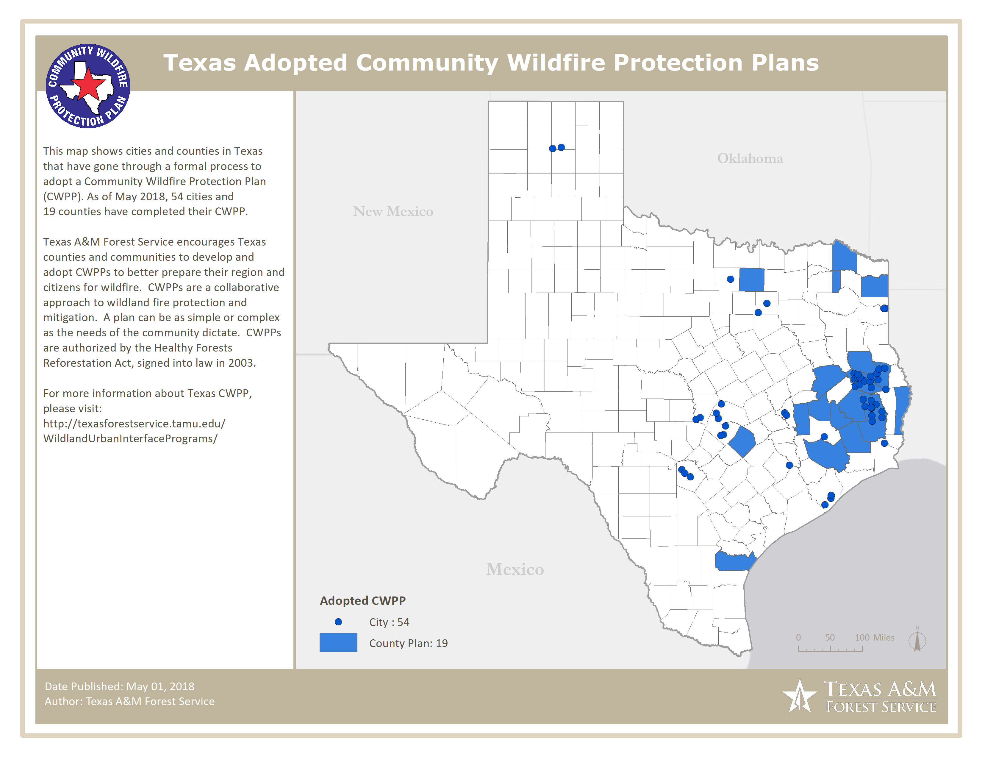 2018 Texas Community Wildfire Protection Plan Map