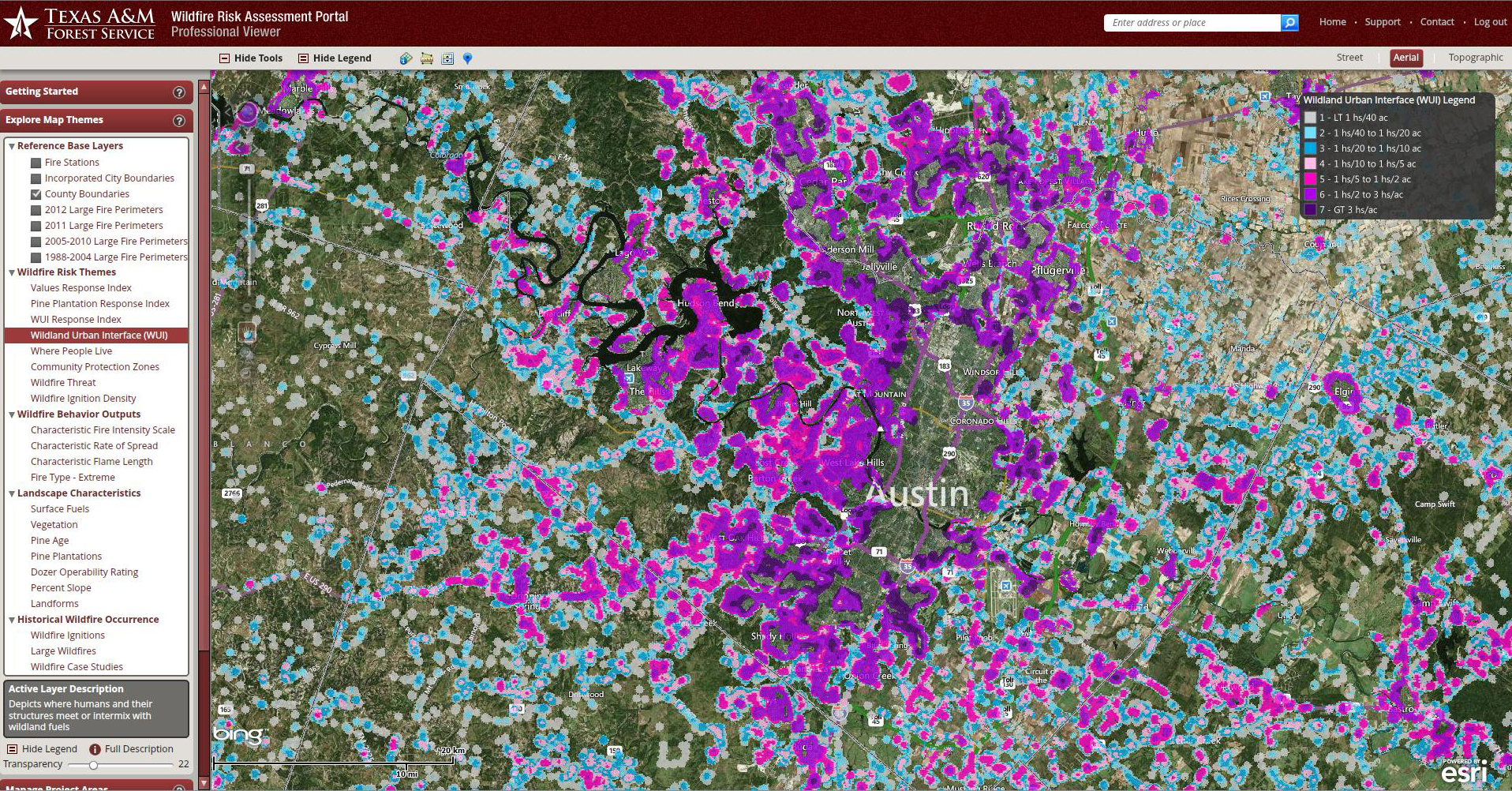 TxWRAP depiction of Travis County WUI