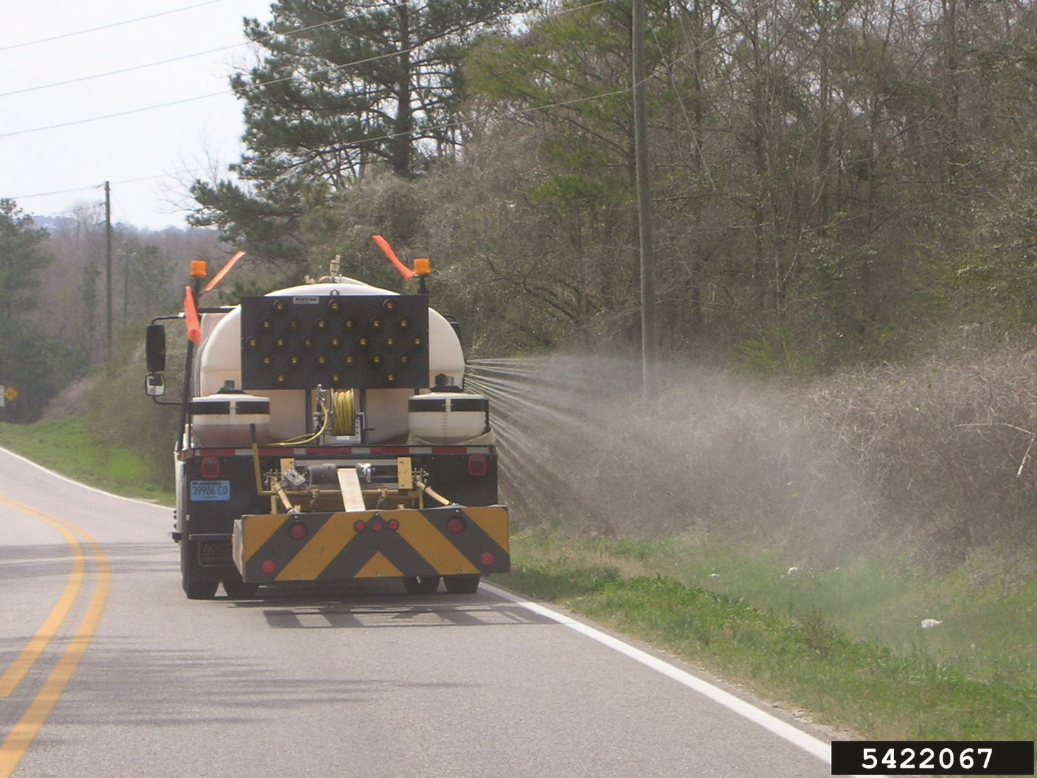 Herbicide sprayed from a truck along the road side