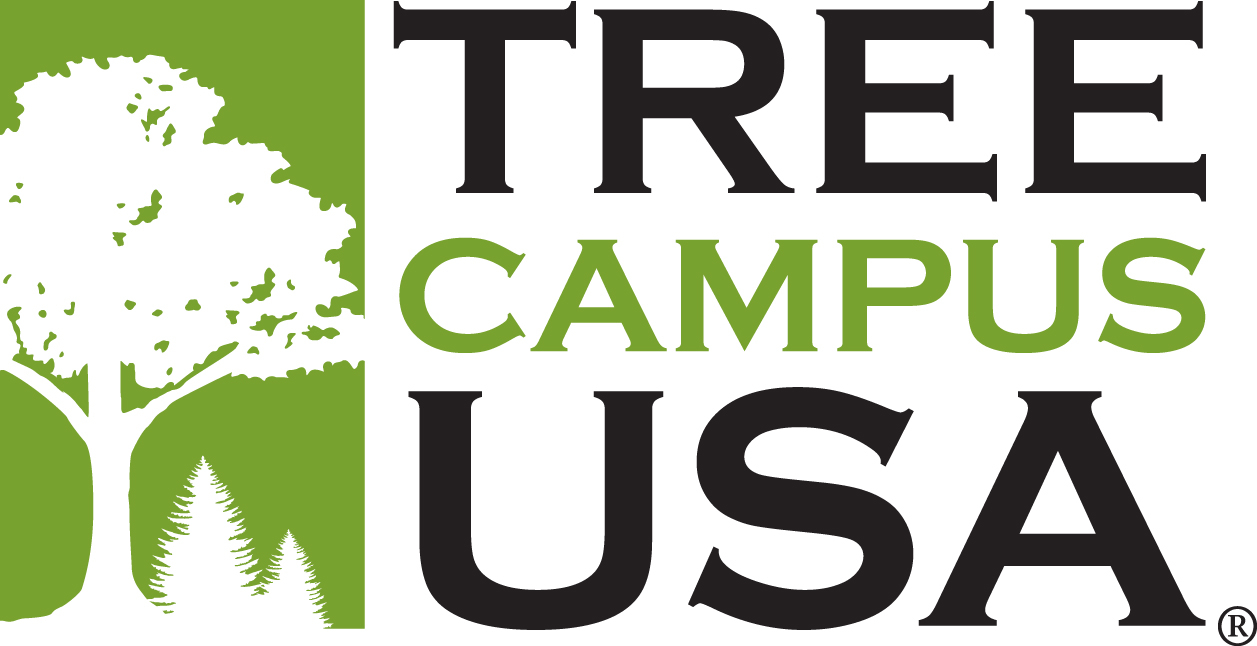 LOGO FOR TREE CAMPUS USA PROGRAM.  LIGHT GREEN RECTANGLE WITH A SOLID WHITE TREE INSIDE.