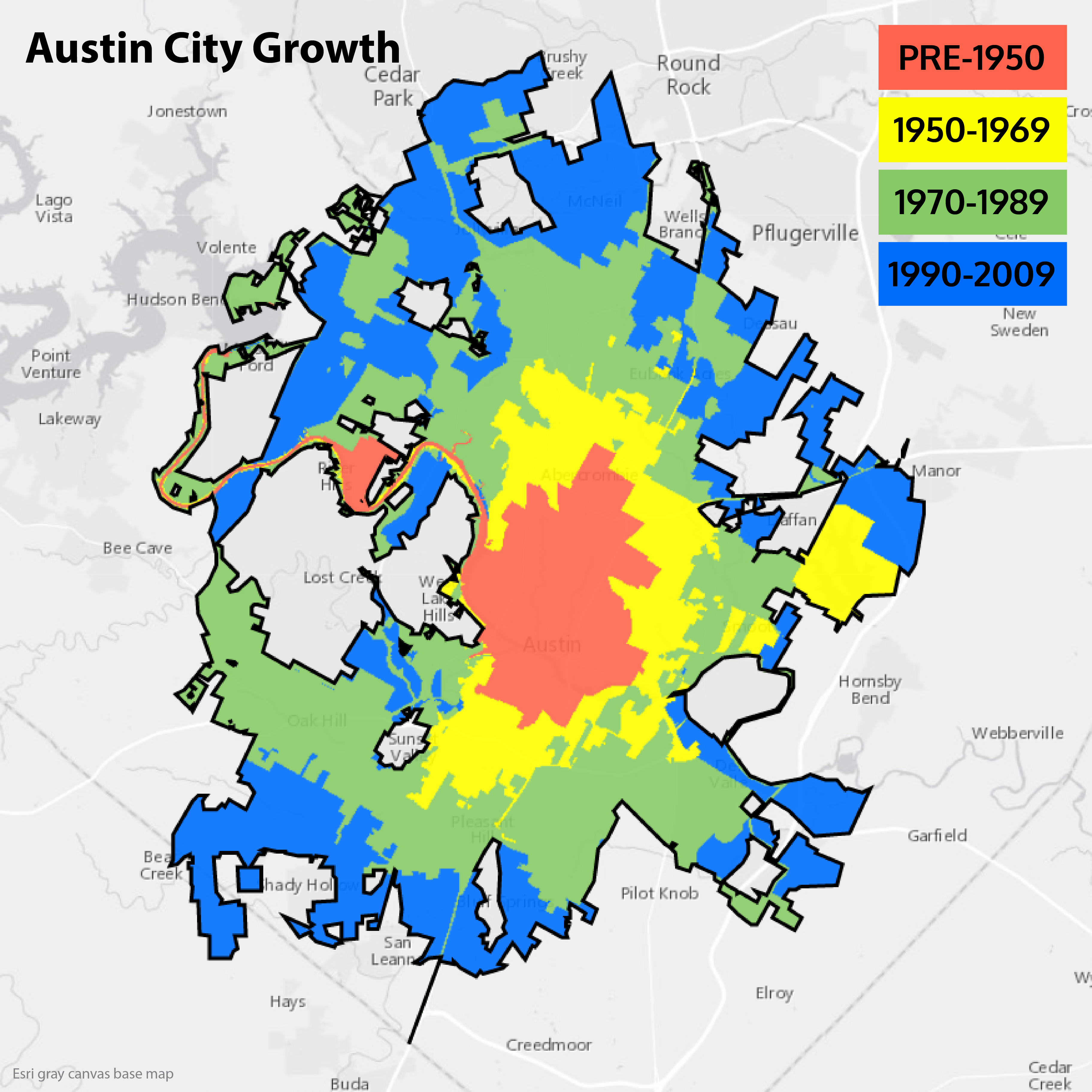 Sixty Years of Austin Growth