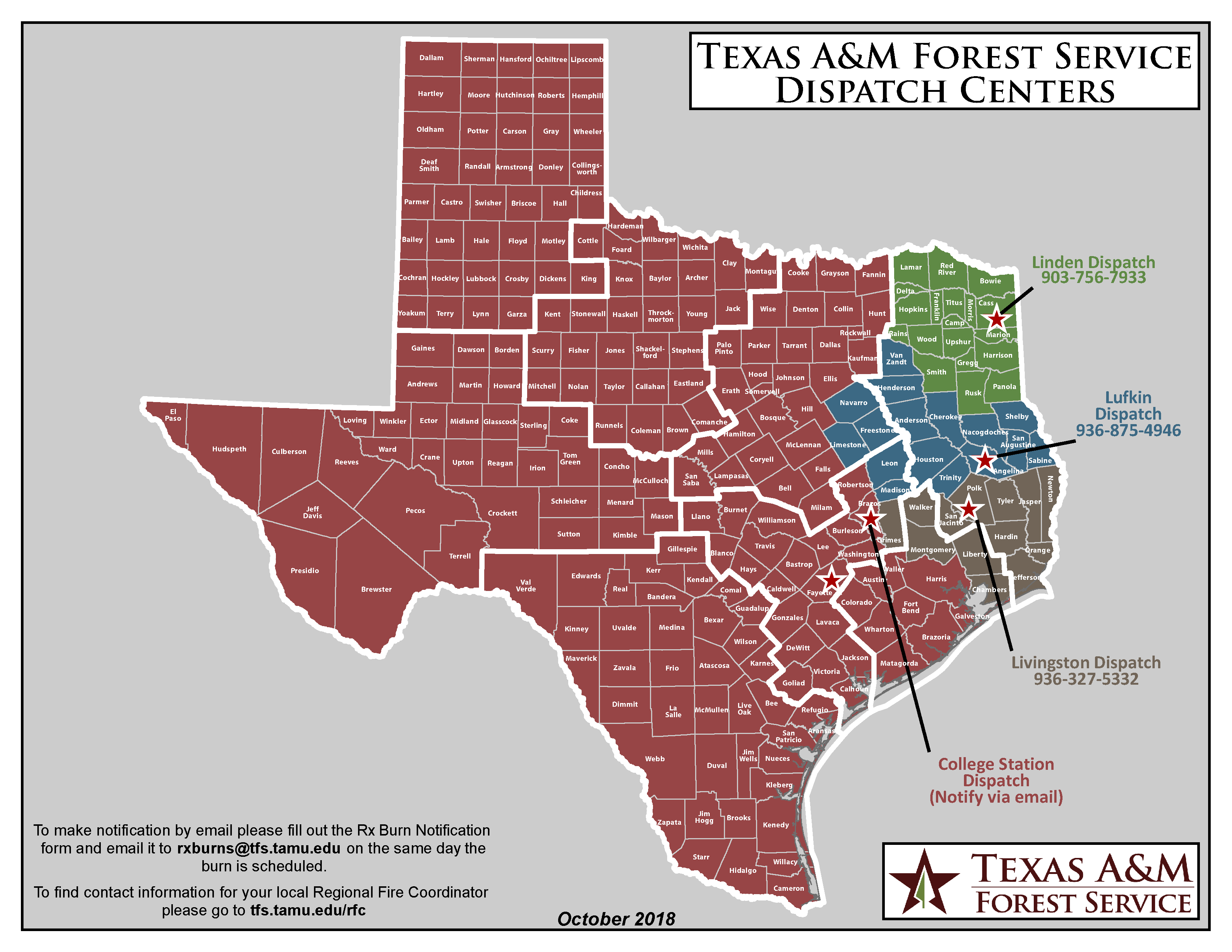 Map of Texas Dispatch Zones.  Click down download PDF