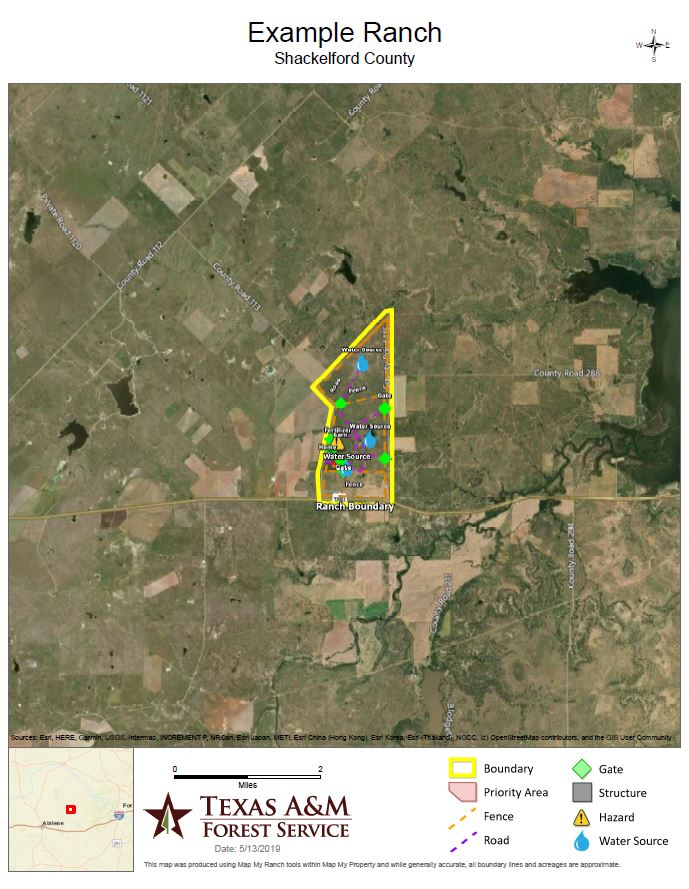 Aerial map of a ranch example mapped with the Map My Ranch application